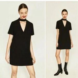 Zara Trafaluc Choker Black Babydoll Dress M